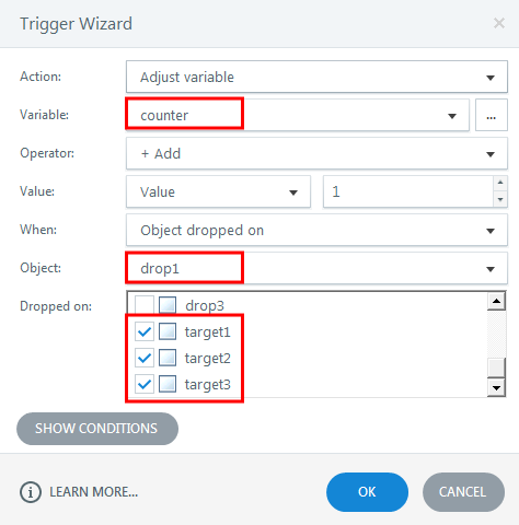Adjusting a variable for tracking