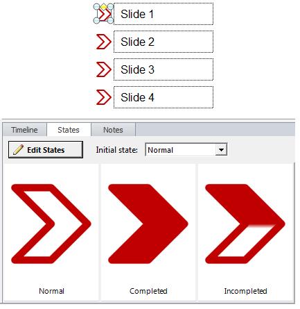 Step 3 - Insert an arrow shape beside each Menu