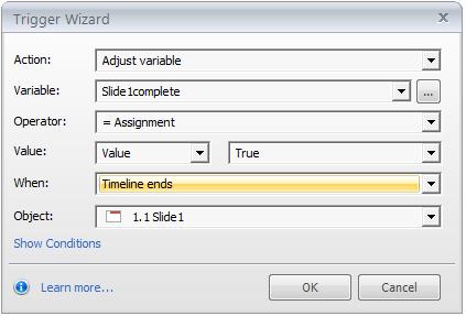 Step 7 - adjust the Slide1incomplete variable