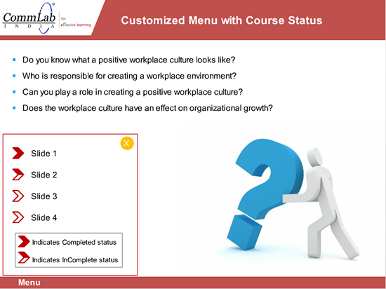 Step 9 - Customized menu to display the course status