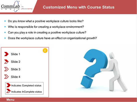 Step 9 - Customized menu to display the course status