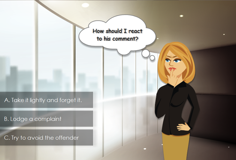 Compliance training scenario created using Articulate Storyline