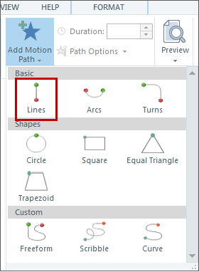Add a motion path to the object Step 3
