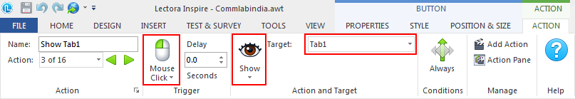 Click on the target option