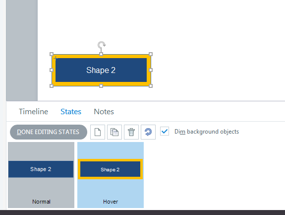 Create a hover for shape2