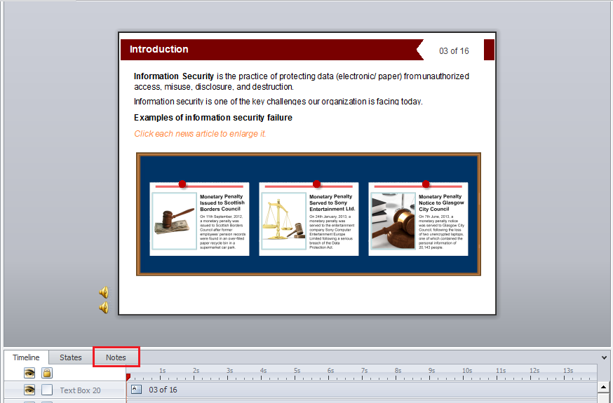Go to individual slides in the project Step 2
