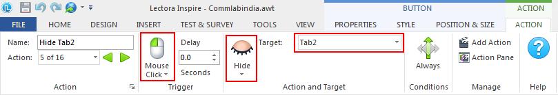 On Mouse Click, Hide Tab 2, Tab 3, Tab 4, and Tab 5.