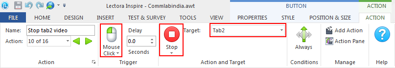 On mouse click stop tab2