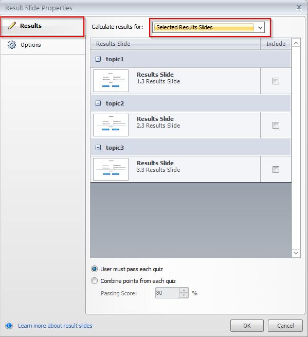 Select result slide option Step 3