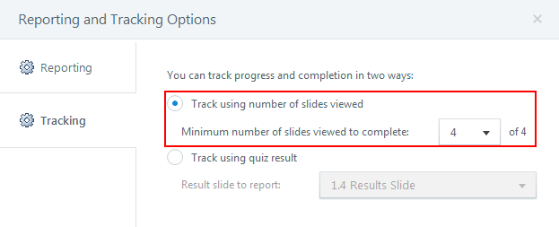 Track using number of slides viewed