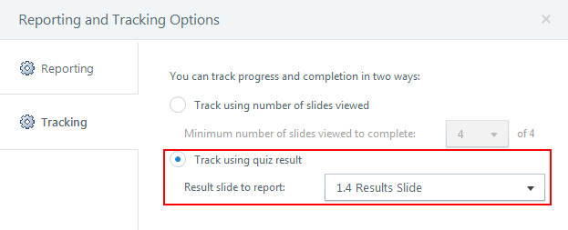 Track using quiz result
