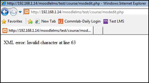 XML error invalid character