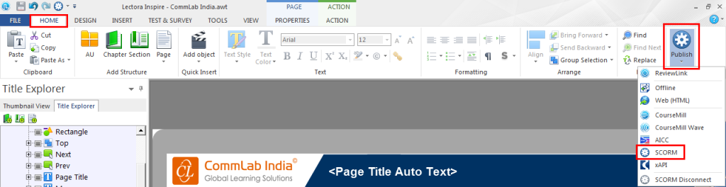 Click publish in the home - Step1
