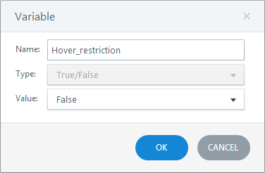 Create a new boolean variable hover restriction
