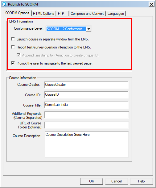 Specify the scorm setting options Step 3