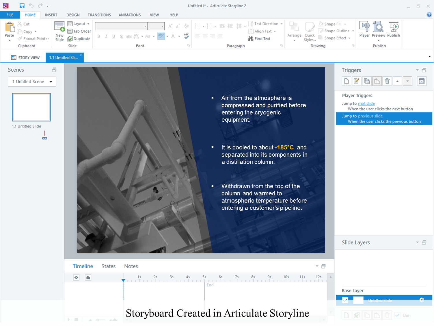 Storyboard created in articulate storyline