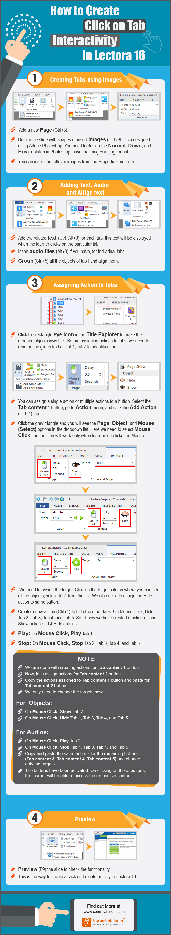 How to Create Click On Tabs Interactivity in Lectora 16 [Infographic]