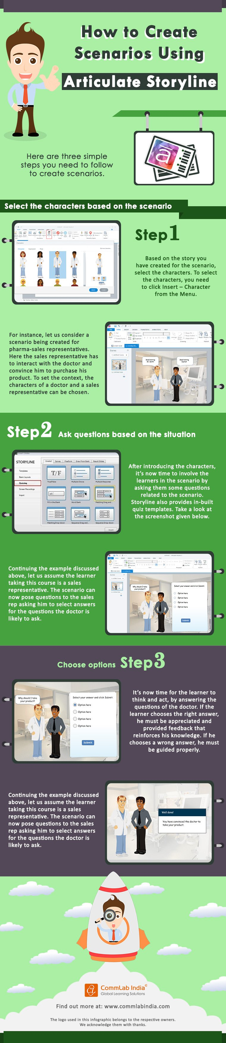 3 Easy Steps to Create Scenarios Using Articulate Storyline [Infographic]