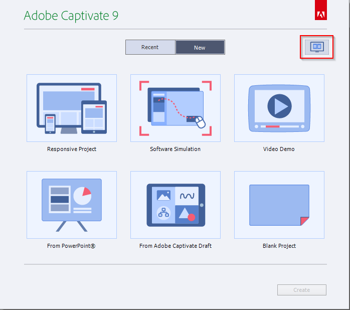 Adobe Captivate 9 Launch Page