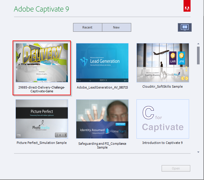 Adobe Captivate 9 Preview of Projects