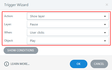 Assign a trigger to show layer