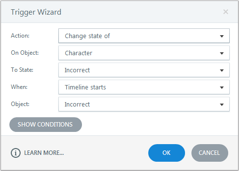 Change the state of the character to incorrect state Trigger1