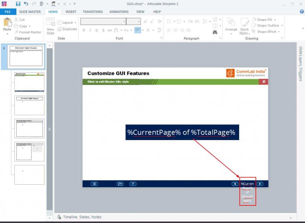 Insert text in the slidemaster layout