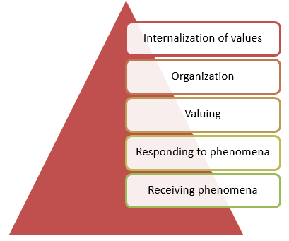 The Affective domain categorizes learner behaviors into five levels