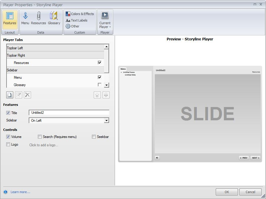 Articulate Storyline built in player and its properties