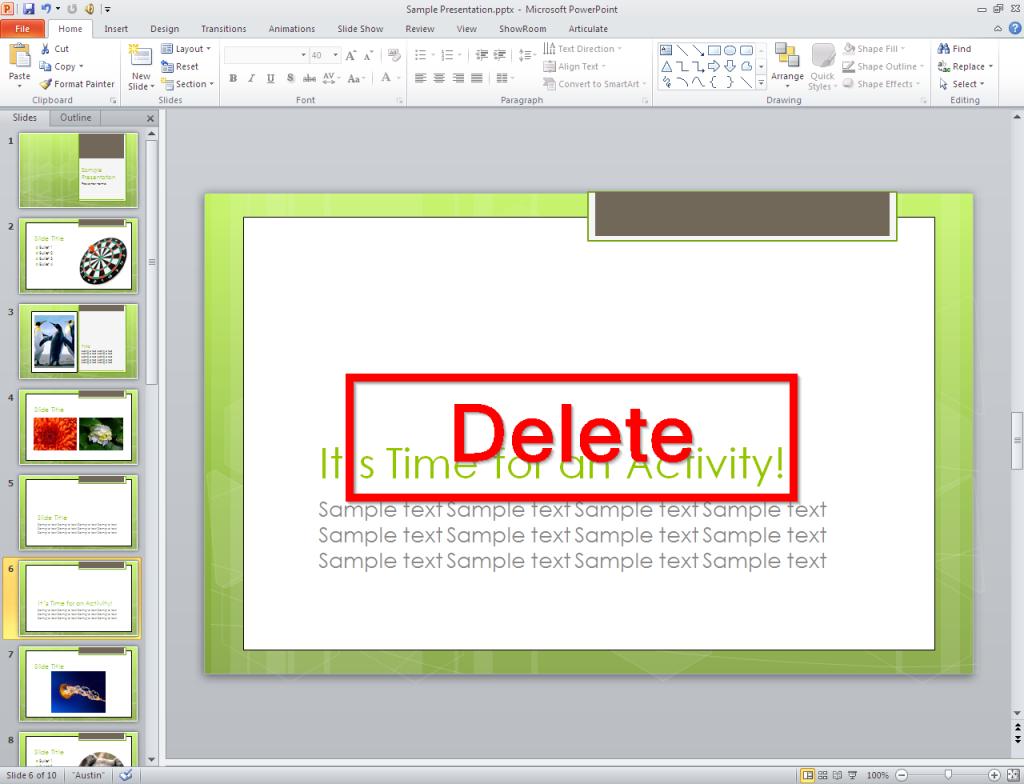 Delete unwanted slides