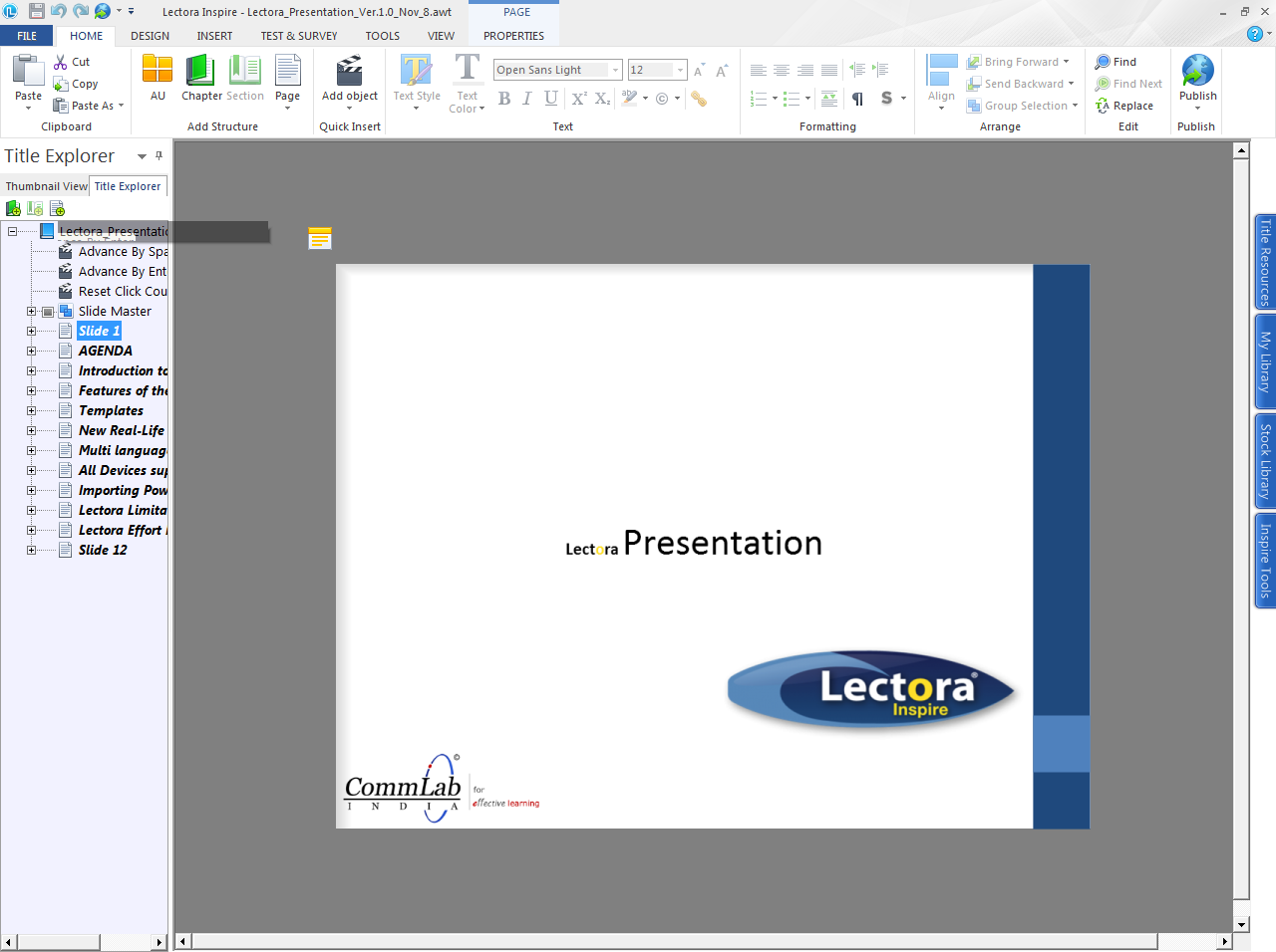 Powerpoint slides imported into lectora
