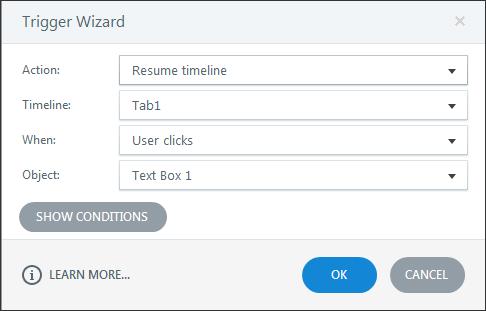 Resume timeline trigger