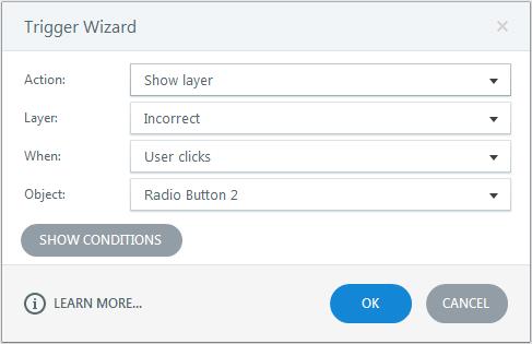 Show incorrect layer when learner clicks radio button 2