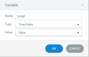 Create a variable with default value false