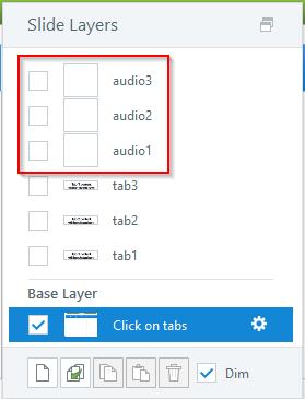 Create three more layers audio 1-2-3