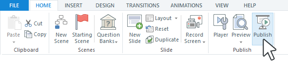 Click the publish button in an authoring tool