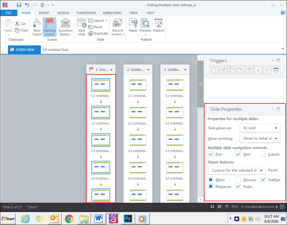 how to edit multiple slide properties simultaneously in articulate