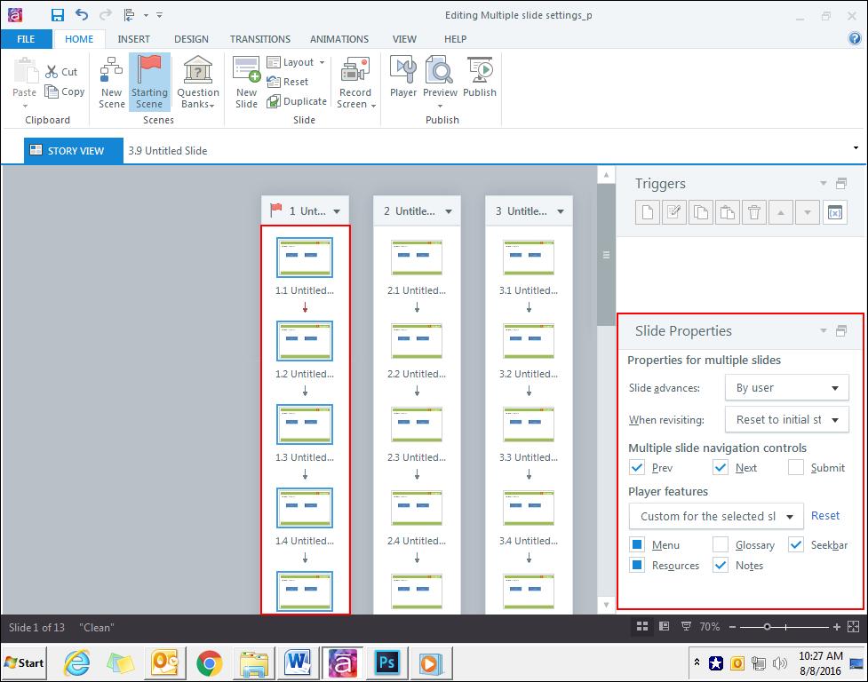 Edit individual slide properties