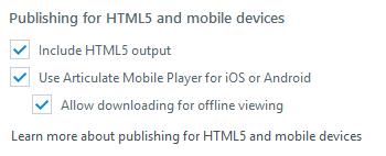 Httml5 output option