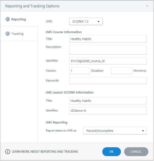 Select appropriate reporting options