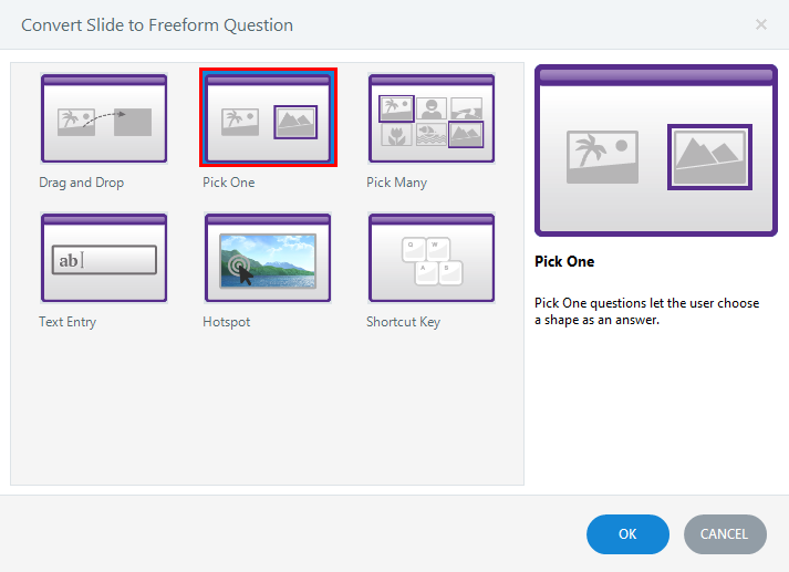 Convert the slide to a free form pick one slide