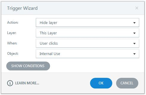 Hide the layer when the learner clicks Use layer text box