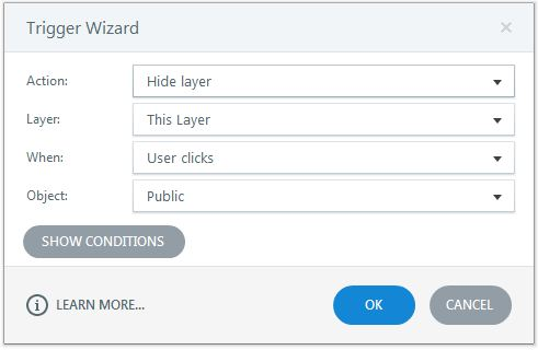 Hide the layer when the learner clicks public textbox
