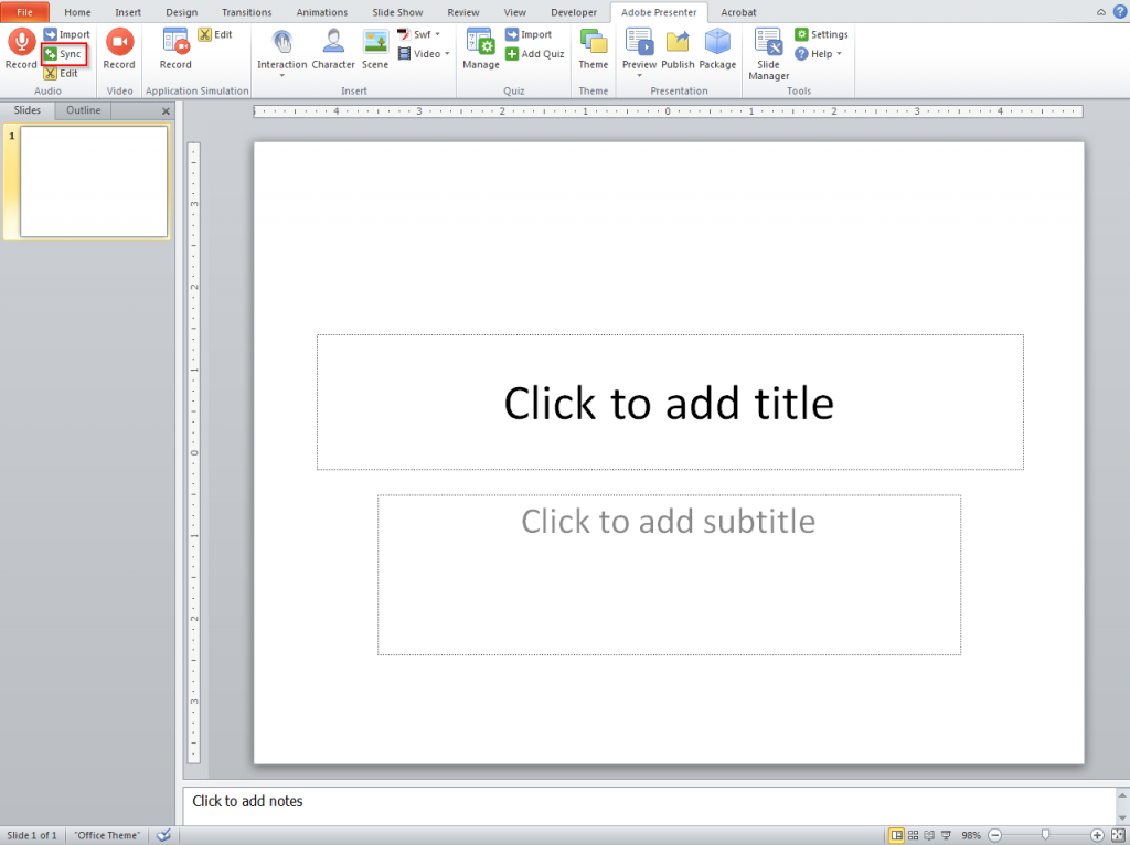 If presentation contains animations clicl sync button