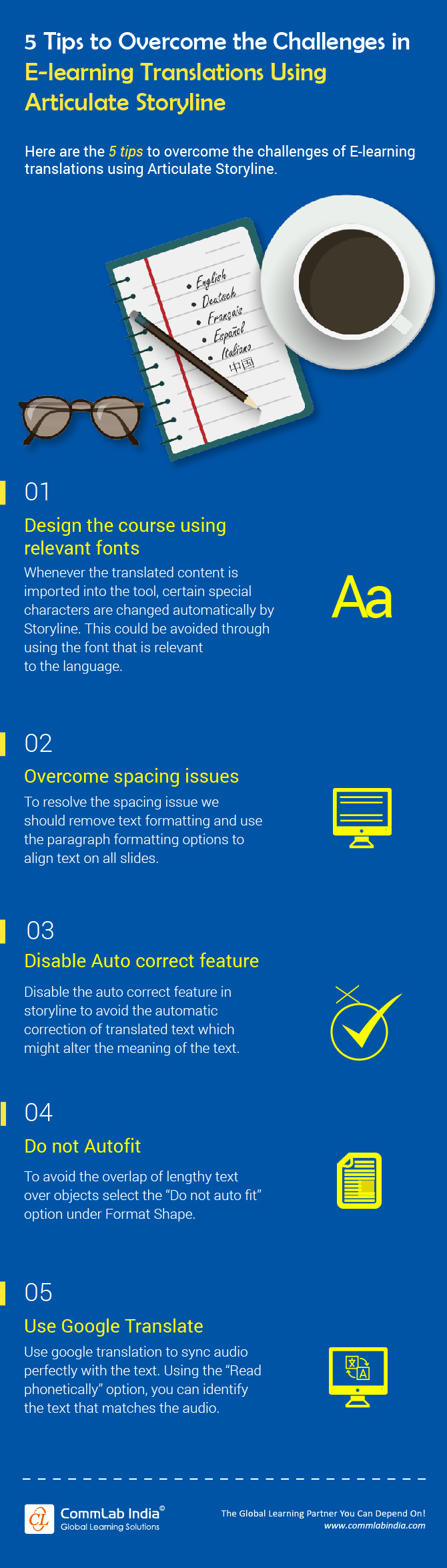 5 Tips to Overcome E-learning Translation Challenges using Articulate Storyline [Infographic]