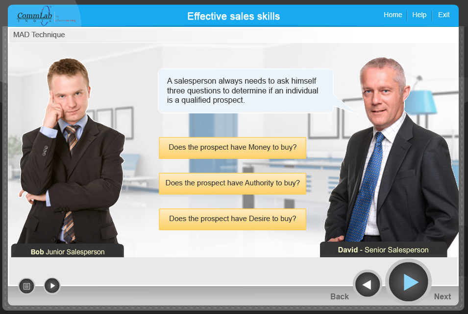 Scenario-based sales simulations