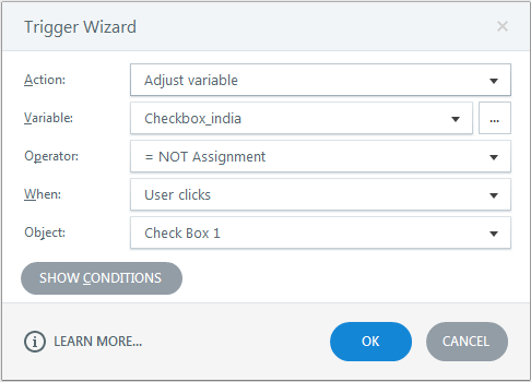 Toggle the variable checkbox_india