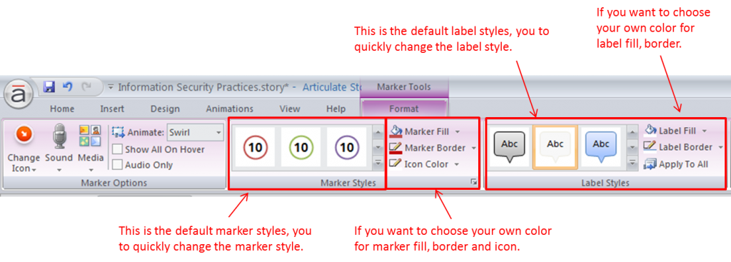 Setting the Default Appearance and Labels of Markers