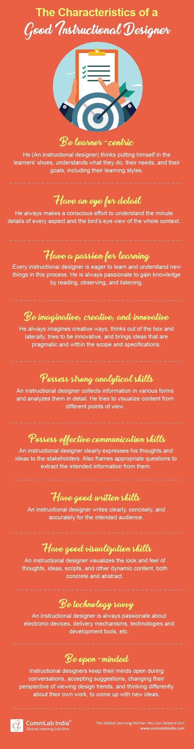 The Characteristics of a Good Instructional Designer [Infographic]