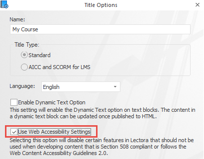 Turn on the Web Accessibility Settings